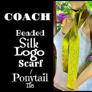 ▪️COACH▪️Beaded Silk Logo Scarf / Ponytail Tie